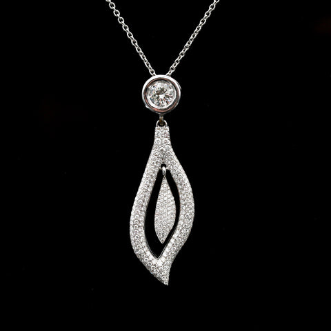 Diamonds in White Gold Leaf Form Necklace