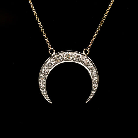 Diamonds In Antique White Gold Crescent Moon With Yellow Gold Necklace