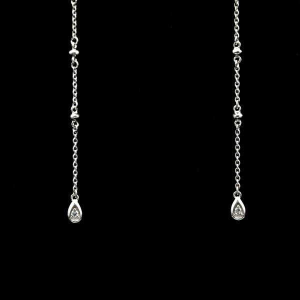 Convertible White Gold Diamond Studs with Dangle Drop Jackets - Sindur