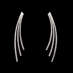 *SOLD* Piero Milano 18k White Gold Diamond Three Bar Spray Earrings - Sindur Style