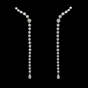 Bezel Set Long Diamond Earrings in White Gold - Sindur
