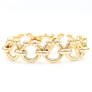 Barbell Horseshoe Link in Yellow Gold Bracelet - Sindur