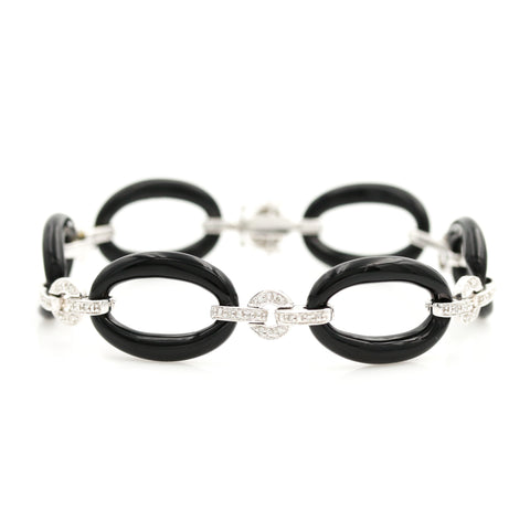 *SOLD* Carved Black Onyx & Diamonds in White Gold - Sindur