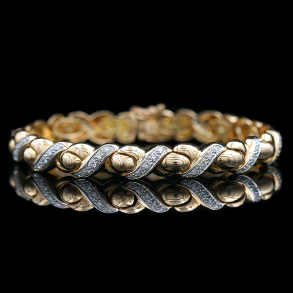 Diamond X & O Yellow Gold Bracelet - Sindur