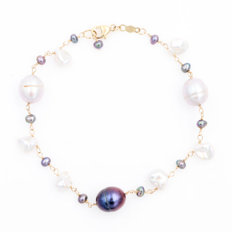 Multi-Colored Pearl Bracelet in Yellow Gold - Sindur