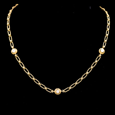 *SOLD* Diamond Bezel Station Necklace in Yellow Gold - Sindur Style
