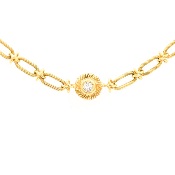 *SOLD* Diamond Bezel Station Necklace in Yellow Gold - Sindur