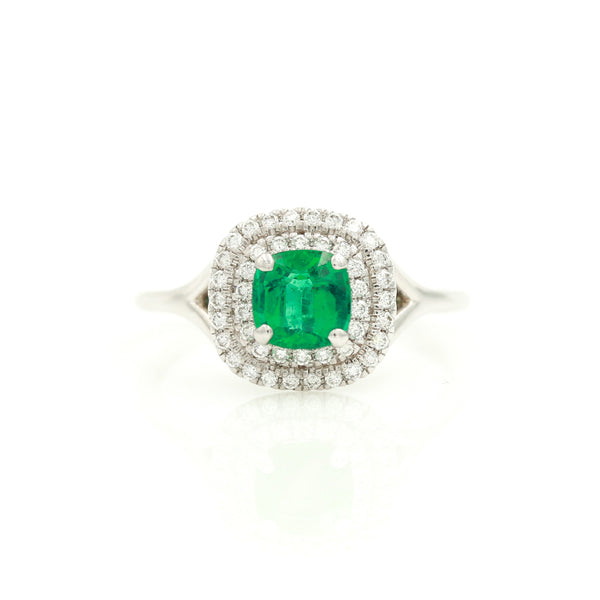 Emerald with Diamond Halos in White Gold Ring - Sindur Style