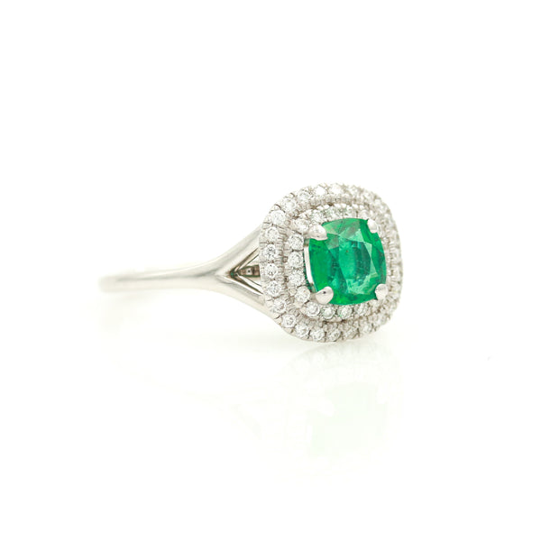 Emerald with Diamond Halos in White Gold Ring - Sindur