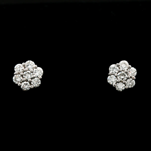 Floral Cluster Diamonds in White Gold Stud Earrings - Sindur