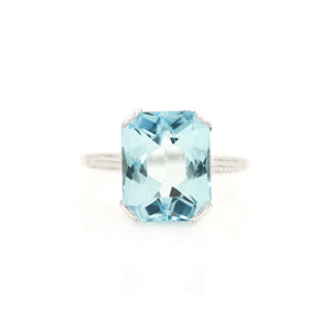 Aquamarine in Antique White Gold Ring - Sindur
