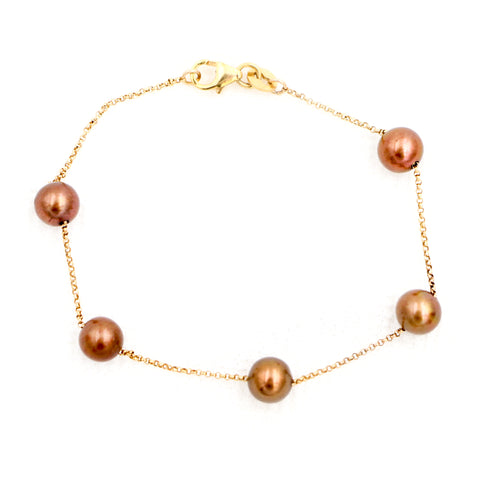 Chocolate Pearls and Yellow Gold Bracelet - Sindur