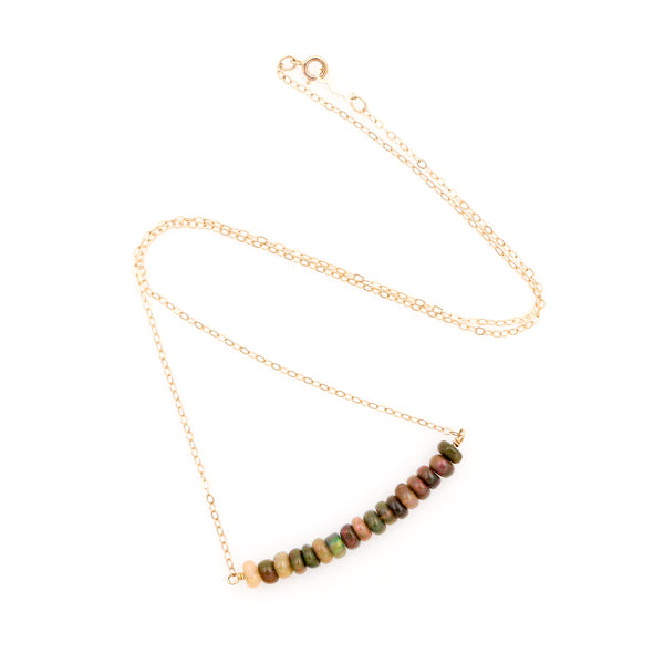 Black Opal Beads on Yellow Gold Necklace - Sindur