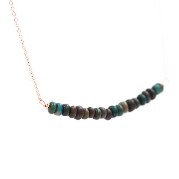 Black Opal Beads on Rose Gold Necklace - Sindur
