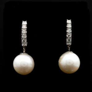 *SOLD* Cultured Pearl Drops and Diamonds in White Gold Earrings - Sindur Style