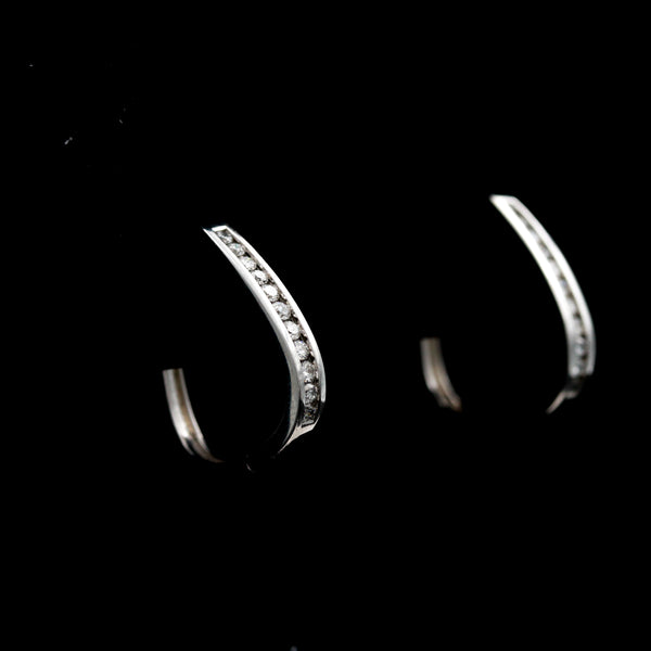 Diamonds in White Gold Hoop Earrings - Sindur