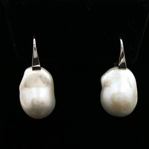 Baroque Pearls in White Gold Earrings - Sindur