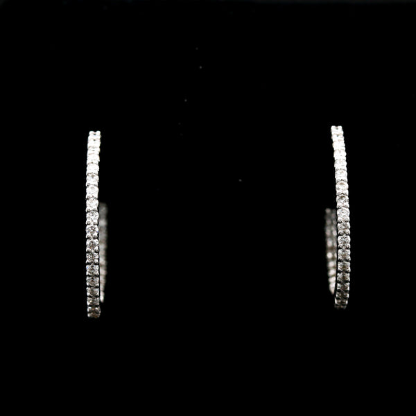 *SOLD* Diamonds in White Gold Inside Out Hoop Earrings - Sindur