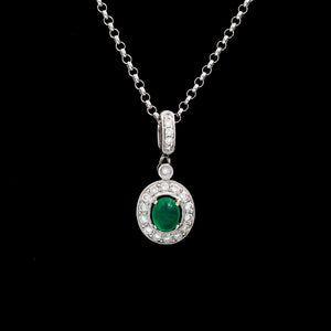 Emerald & Diamonds in White Gold Necklace - Sindur Style