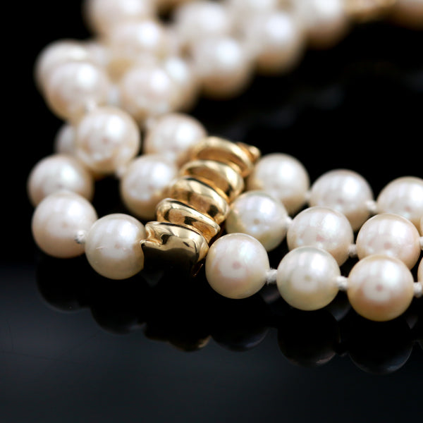 Classic Three Row Pearl Bracelet with Yellow Gold Accents - Sindur