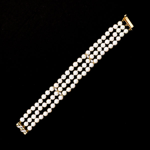 Three Row Pearl Bracelet with Diamond & Yellow Gold Accents - Sindur Style