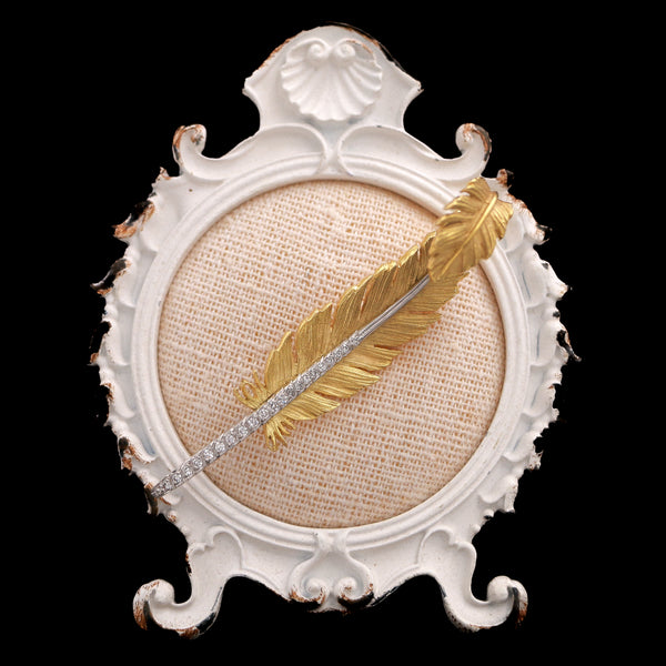Vintage Yellow Gold & Platinum Diamond Feather Brooch - Sindur Style