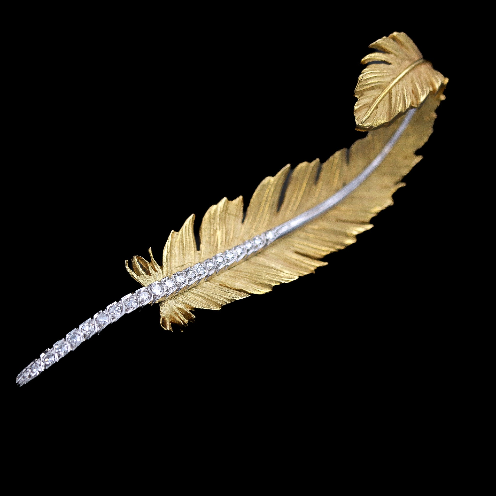 Vintage Yellow Gold & Platinum Diamond Feather Brooch - Sindur