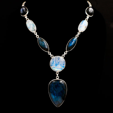 Statement Moonstone & Labradorite in Sterling Silver Necklace - Sindur Style