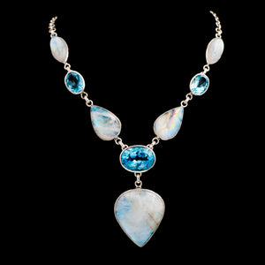 Statement Moonstone & Blue Topaz in Sterling Silver Necklace - Sindur Style
