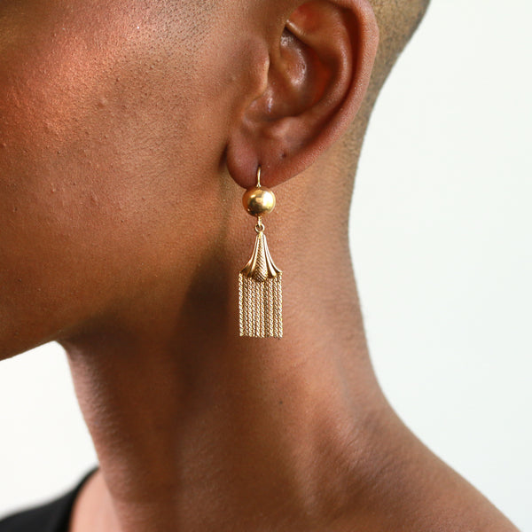 Vintage Yellow Gold Fringe Dangle Earrings - Sindur