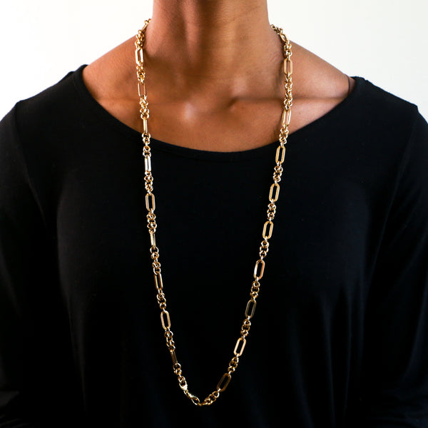 "36"" Yellow Gold Fancy Link Chain Necklace - Sindur Style"