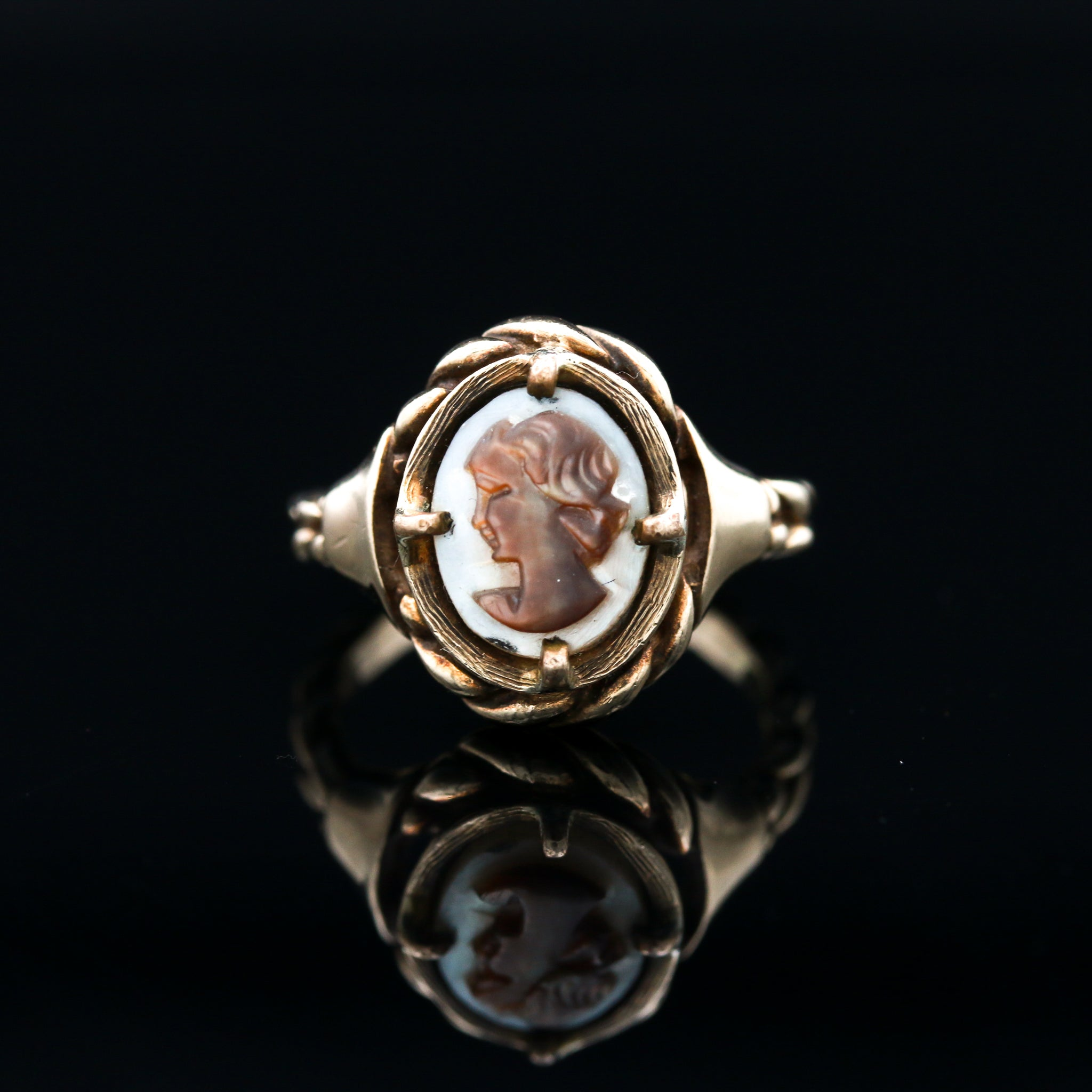 Antique Carved Mother of Pearl Cameo Ring - Sindur