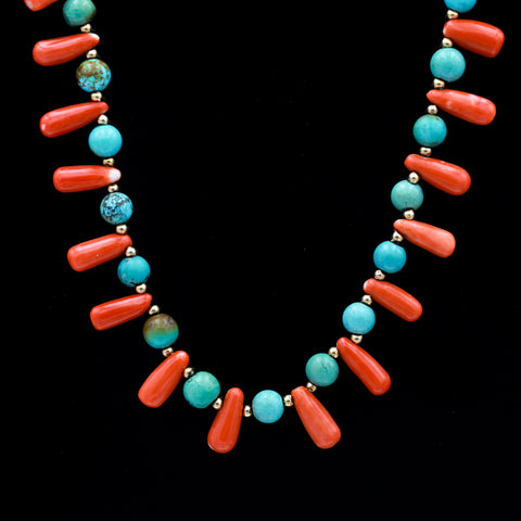 Coral, Turquoise & Yellow Gold Beaded Necklace - Sindur Style