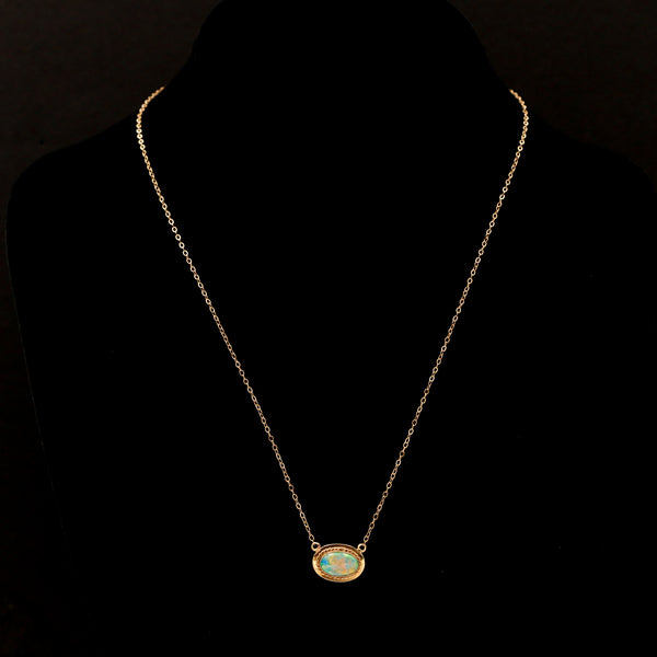 Opal with Braid Halo in Yellow Gold Vintage Necklace - Sindur