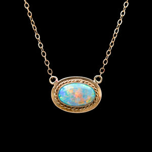 Opal with Braid Halo in Yellow Gold Vintage Necklace - Sindur Style