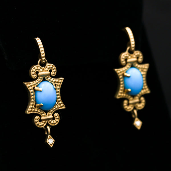 Turquoise & Diamonds in Yellow Gold Earrings - Sindur