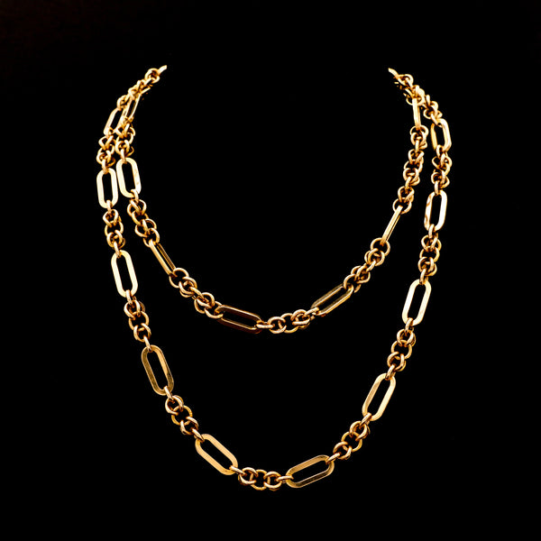 "36"" Yellow Gold Fancy Link Chain Necklace - Sindur"