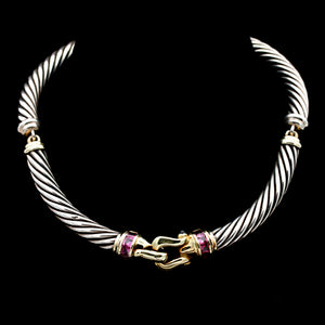 David Yurman Sterling Silver & Gold Rhodolite Garnet & Iolite Necklace - Sindur Style