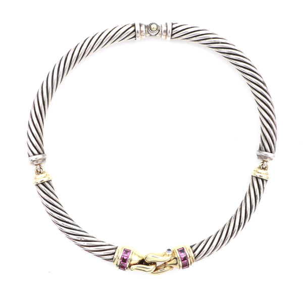 David Yurman Sterling Silver & Gold Rhodolite Garnet & Iolite Necklace - Sindur