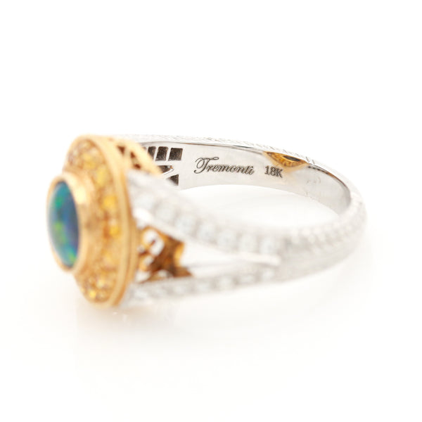 Tremonti Black Opal & Diamond Ring in Two Tone Gold - Sindur Style