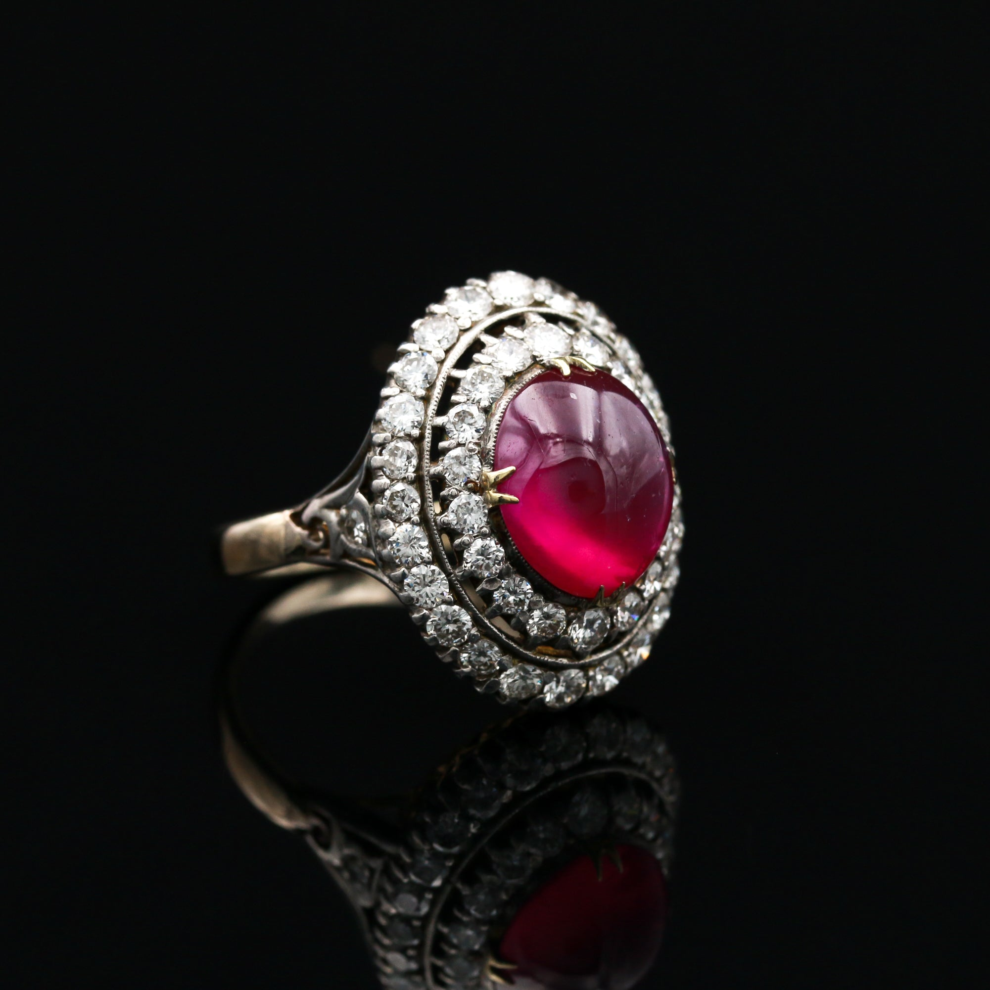 *SOLD* Antique Ring with Natural Burmese Ruby & Diamonds in Two Tone Gold - Sindur