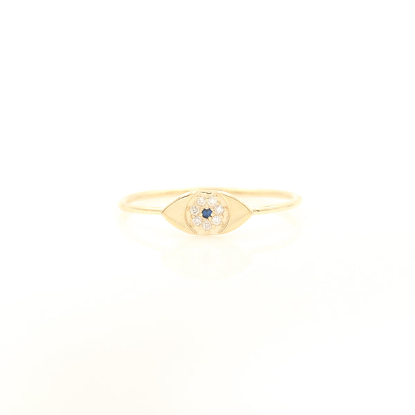 Sapphire & Diamonds in Yellow Gold Evil Eye Ring - Sindur