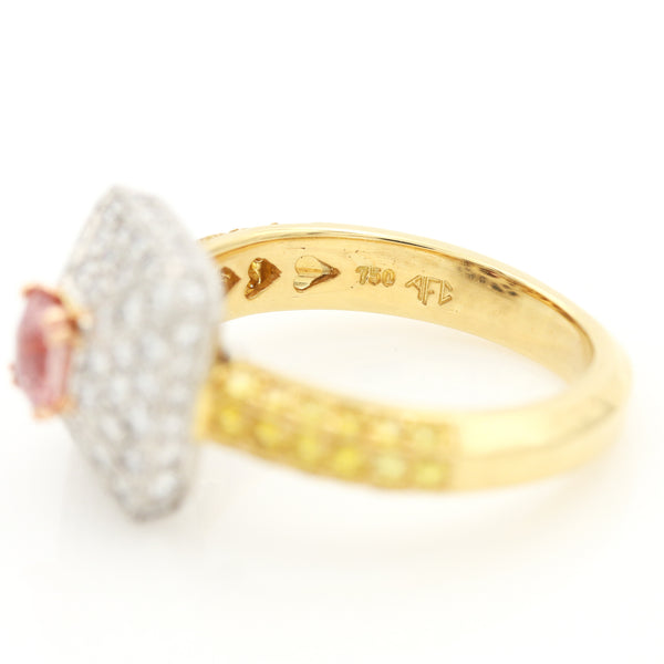 Padparadscha Sapphire & Diamonds in Platinum & Yellow Gold Ring - Sindur