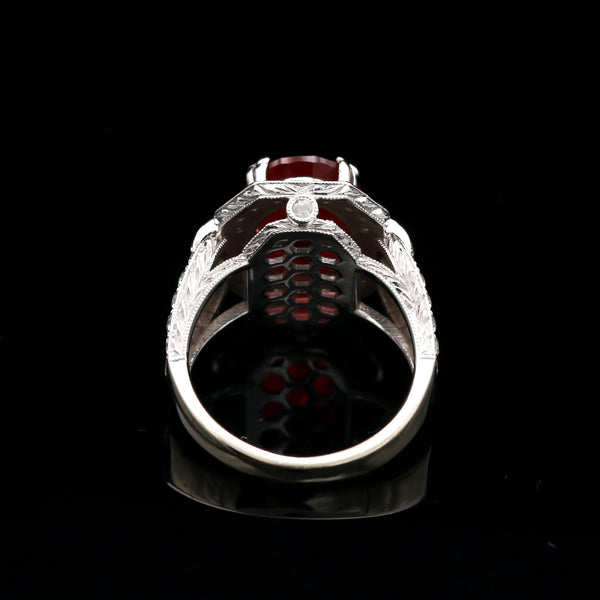 Ruby & Diamonds in White Gold Ring - Sindur Style