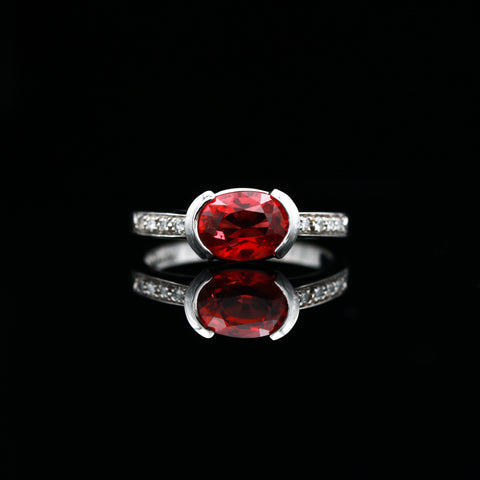 Spinel & Diamonds in Contemporary White Gold Ring - Sindur