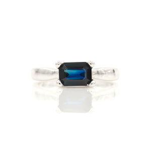 Sapphire in White Gold Solitaire Ring