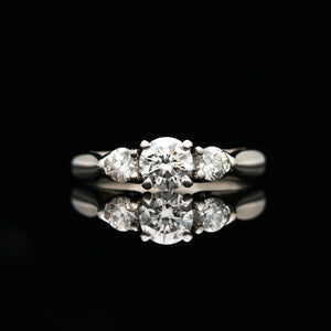 Three Stone Round Diamond Ring in Platinum