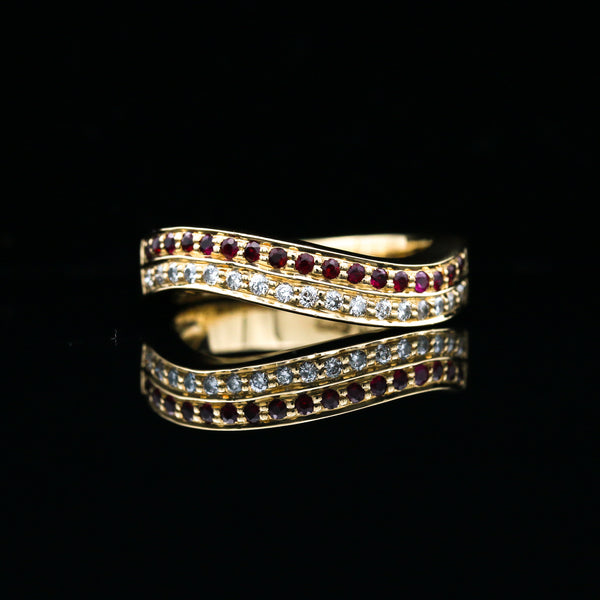 Rubies & Diamonds in Yellow Gold Wave Band - Sindur Style