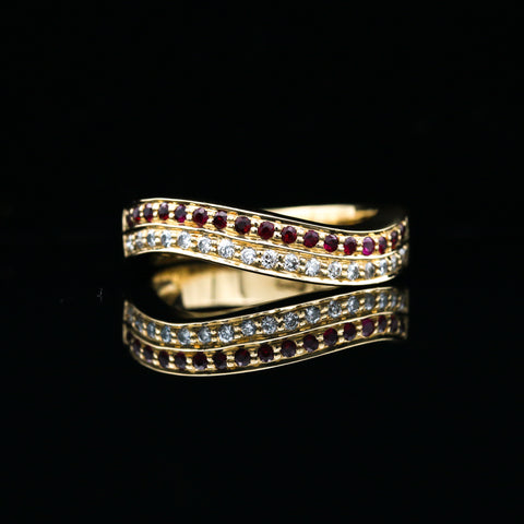 Rubies & Diamonds in Yellow Gold Wave Band - Sindur