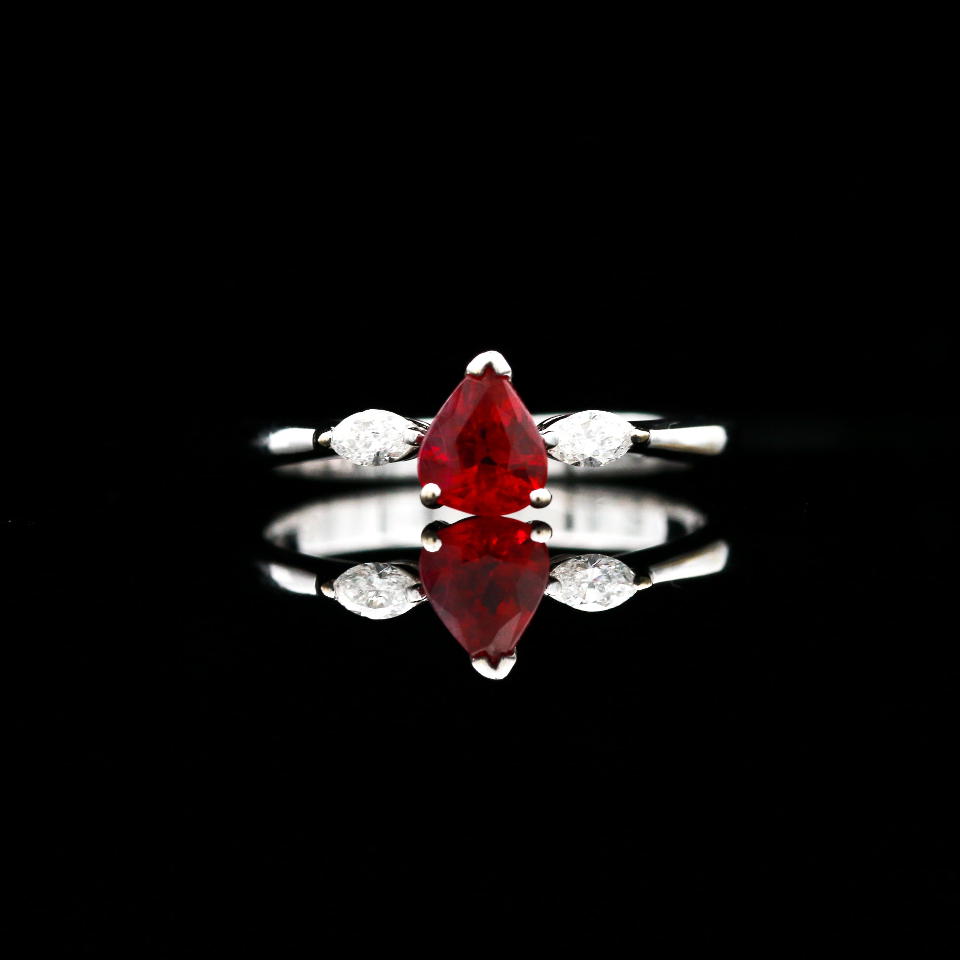 Pear Shaped Ruby & Marquise Diamonds in White Gold Ring - Sindur Style